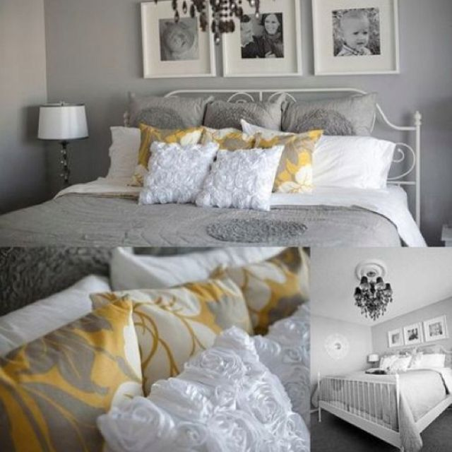 Love Gray And Mustard Yellow White Bedroom Decor Grey