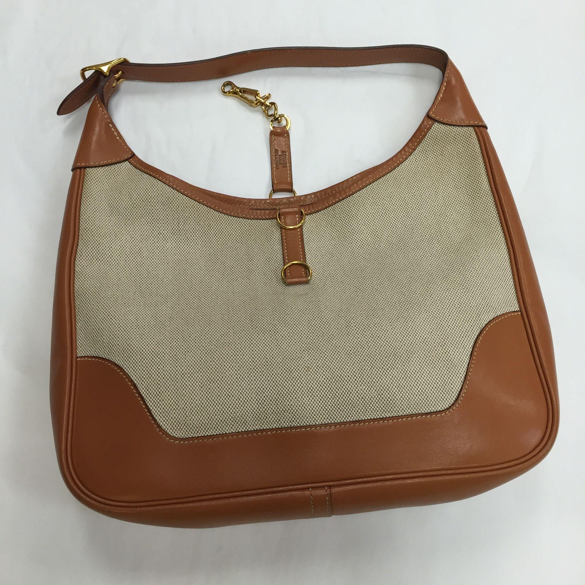 """Hermes Vintage 31"""" Natural Canvas/Tan Barenia Leather Handbag/Shoulder Bag"""
