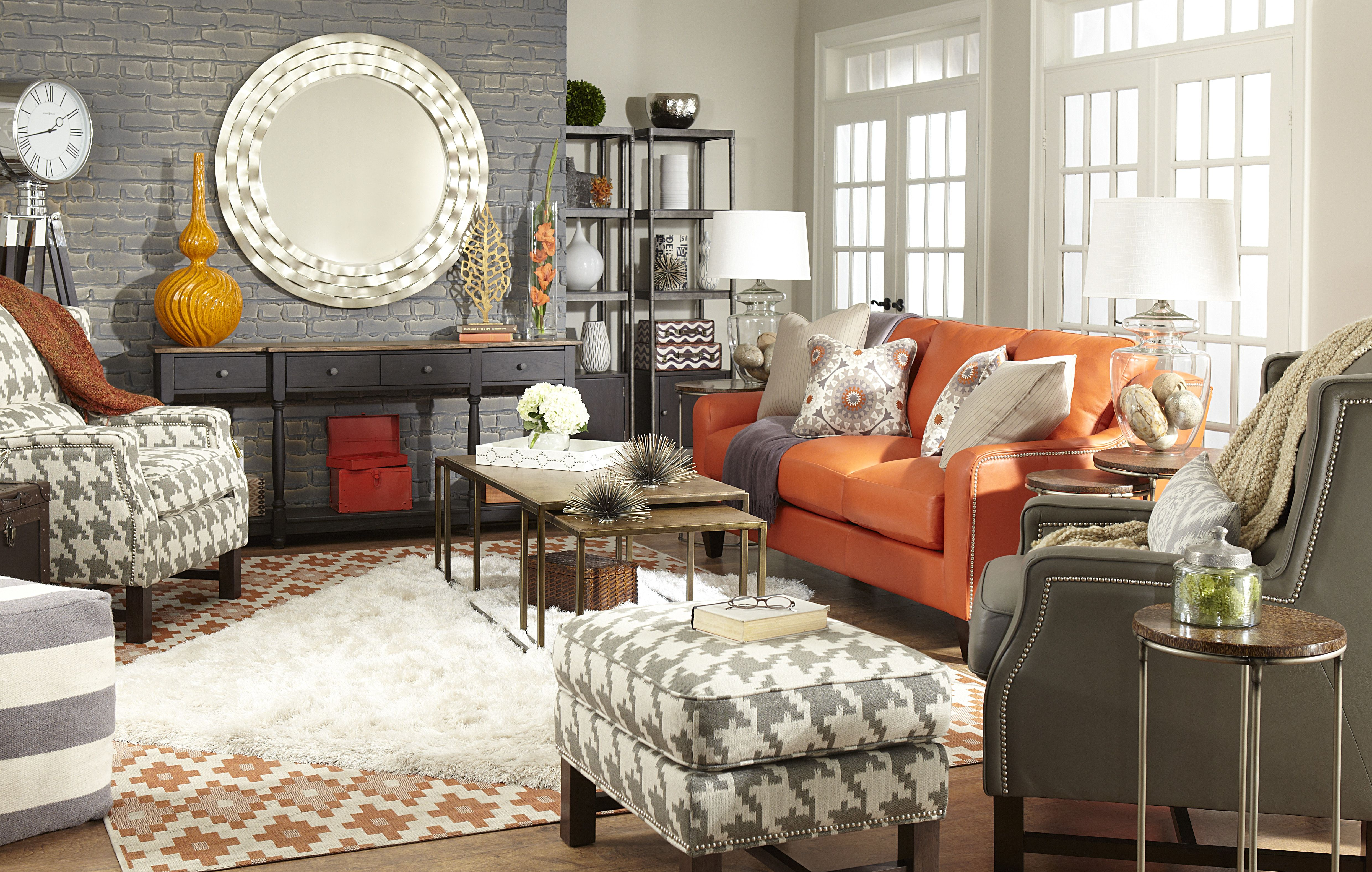 Pin On Eclectic Bright #orange #and #grey #living #room #decor