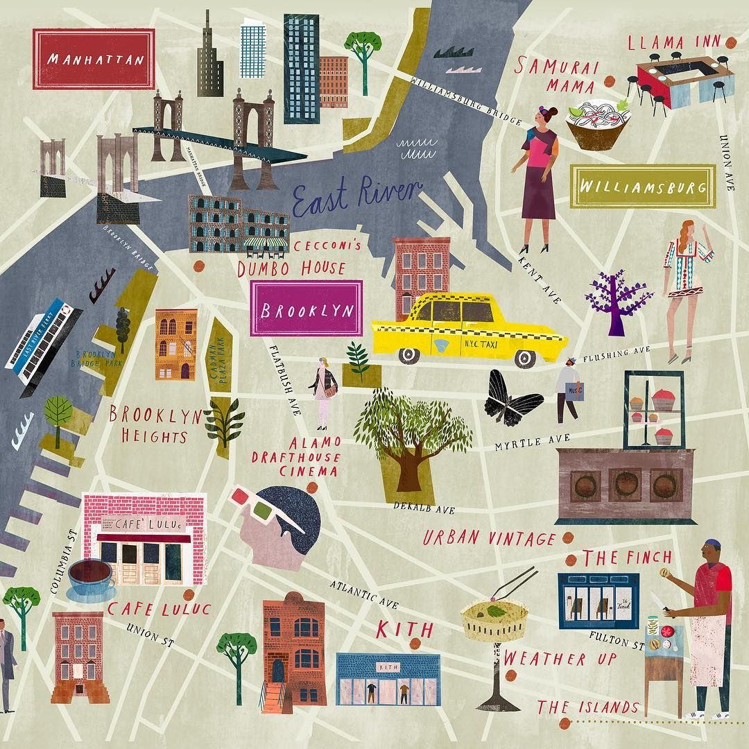 New Brooklyn map for Soho House illustration map brooklyn