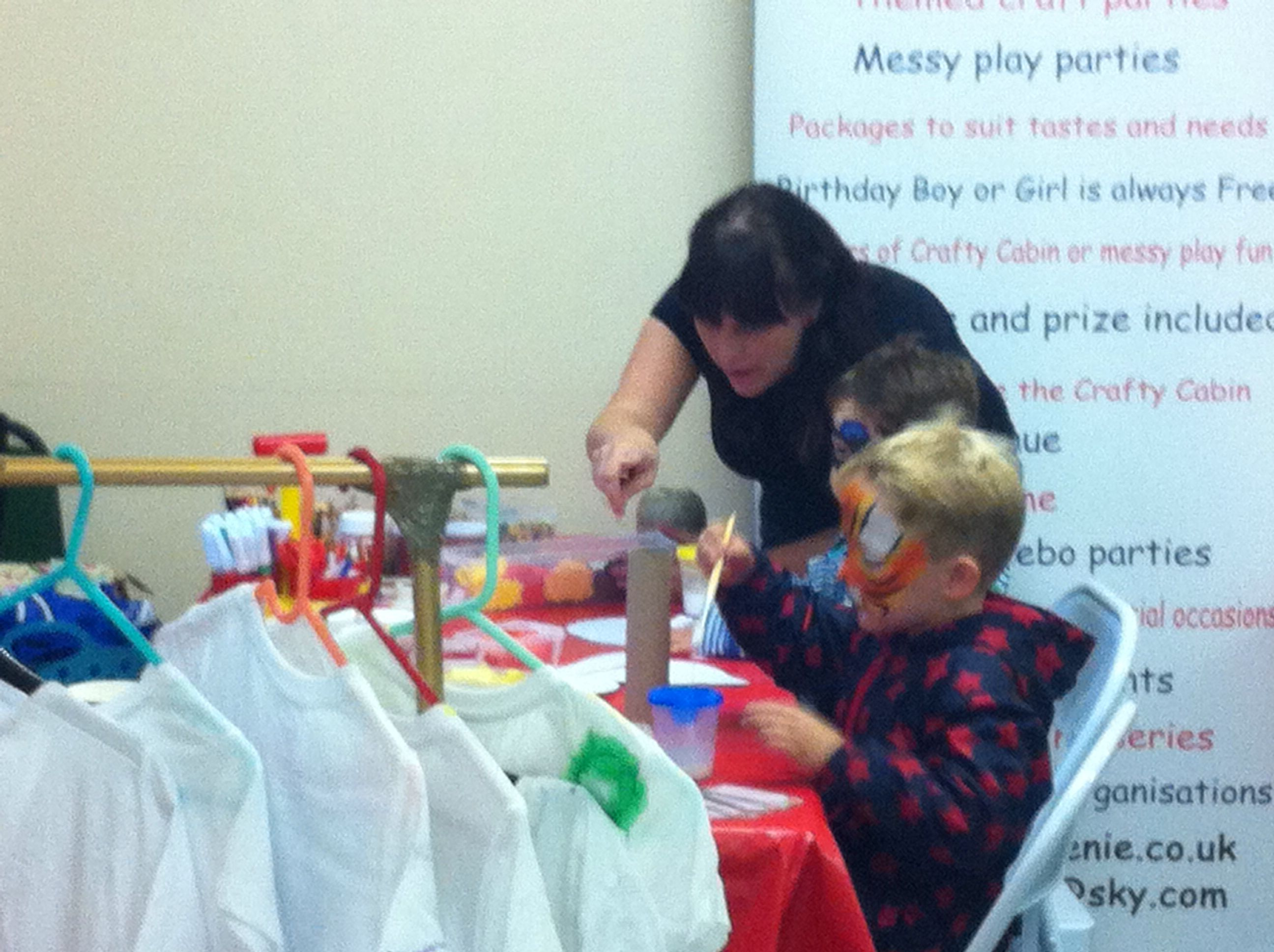 Creative children crafting away makes them happy for the day :-) mobile arts and crafts!