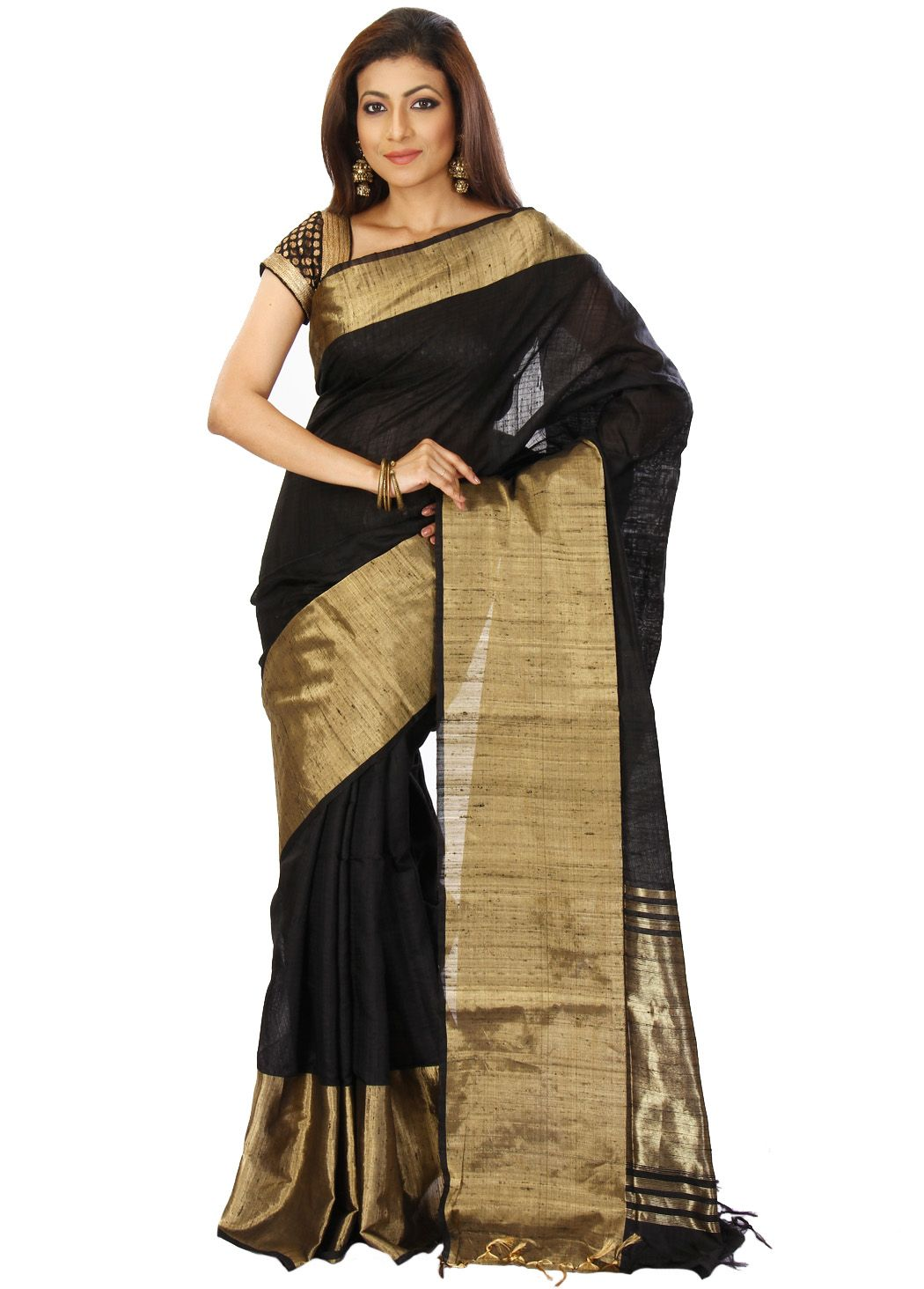 6455bdffbd644 BLACK CREPE SAREE WITH BLOUSE