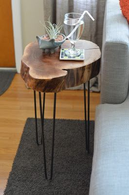 Before After Tree Table Side Table Wood Tree Stump Furniture