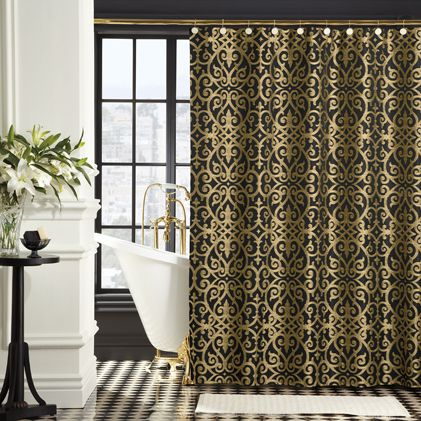 The Sarto Shower Curtain Is A Statement In Modern Luxury For Your Bath In Rich Gold On Bla Gold Shower Curtain Fabric Shower Curtains Shower Curtain