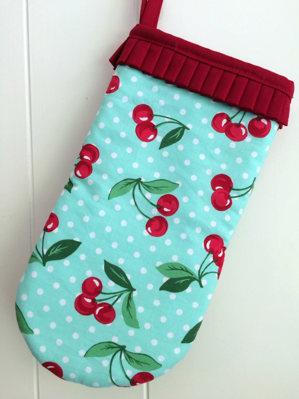 Retro Cherry Kitchen Decor Cute Kitschy Oven Mitt Potholder Turquoise And Red Cherry Print