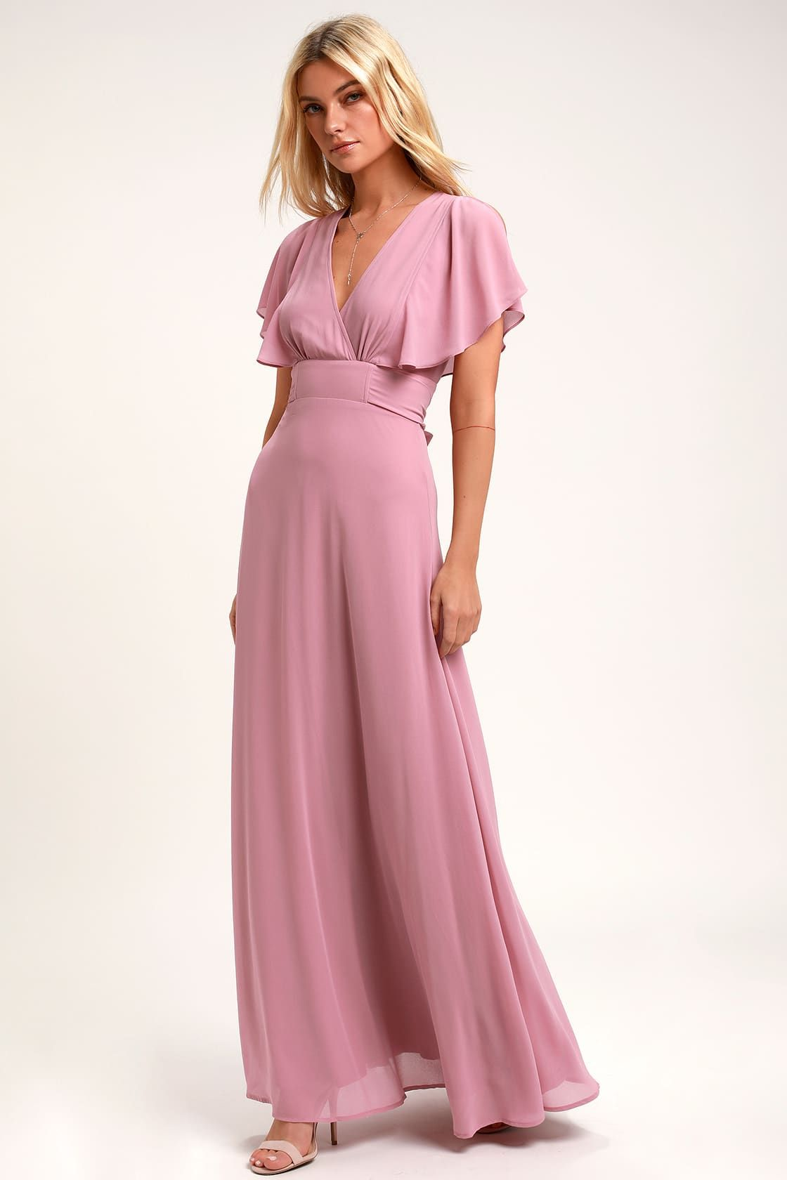 Dearly loved mauve flutter sleeve maxi dress maxi dress