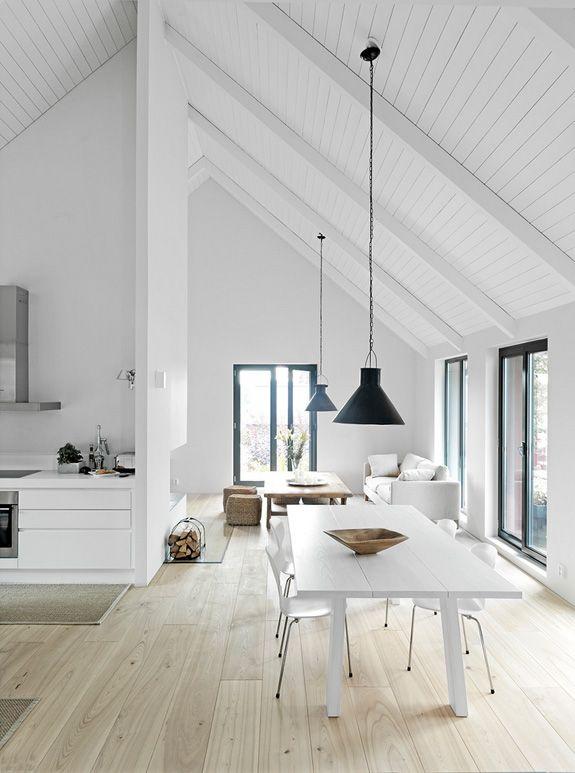 Offene Küche Mit Esstisch Im Dachgeschoss. Holzvertäfelte Dachschrägen In  Weiß.