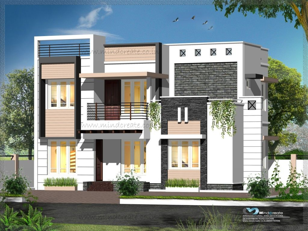 Contemporary Style Elevations | Kerala Model Home Plans