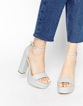 How gorgeous is the grey matte shade in these platform sandals ...