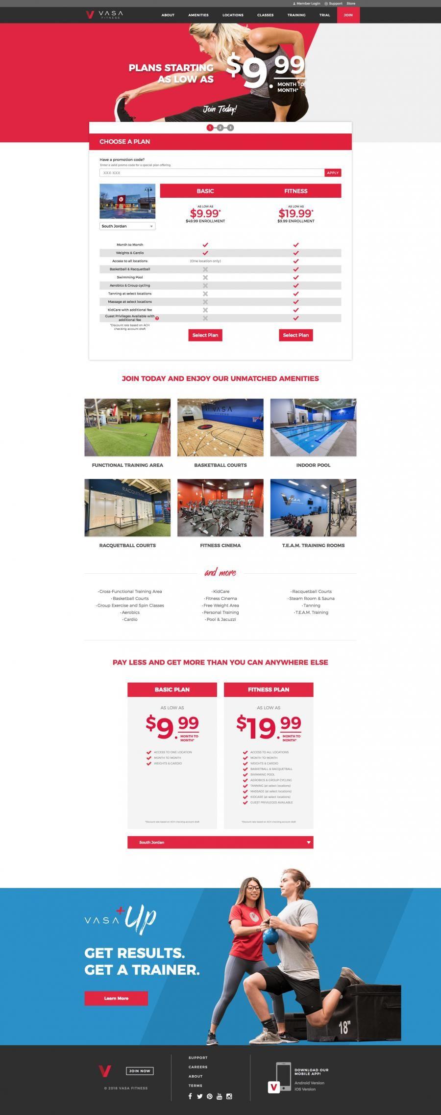 Vasa Fitness Gyms Landing Page Design Landing Page Design Page Design Landing Page