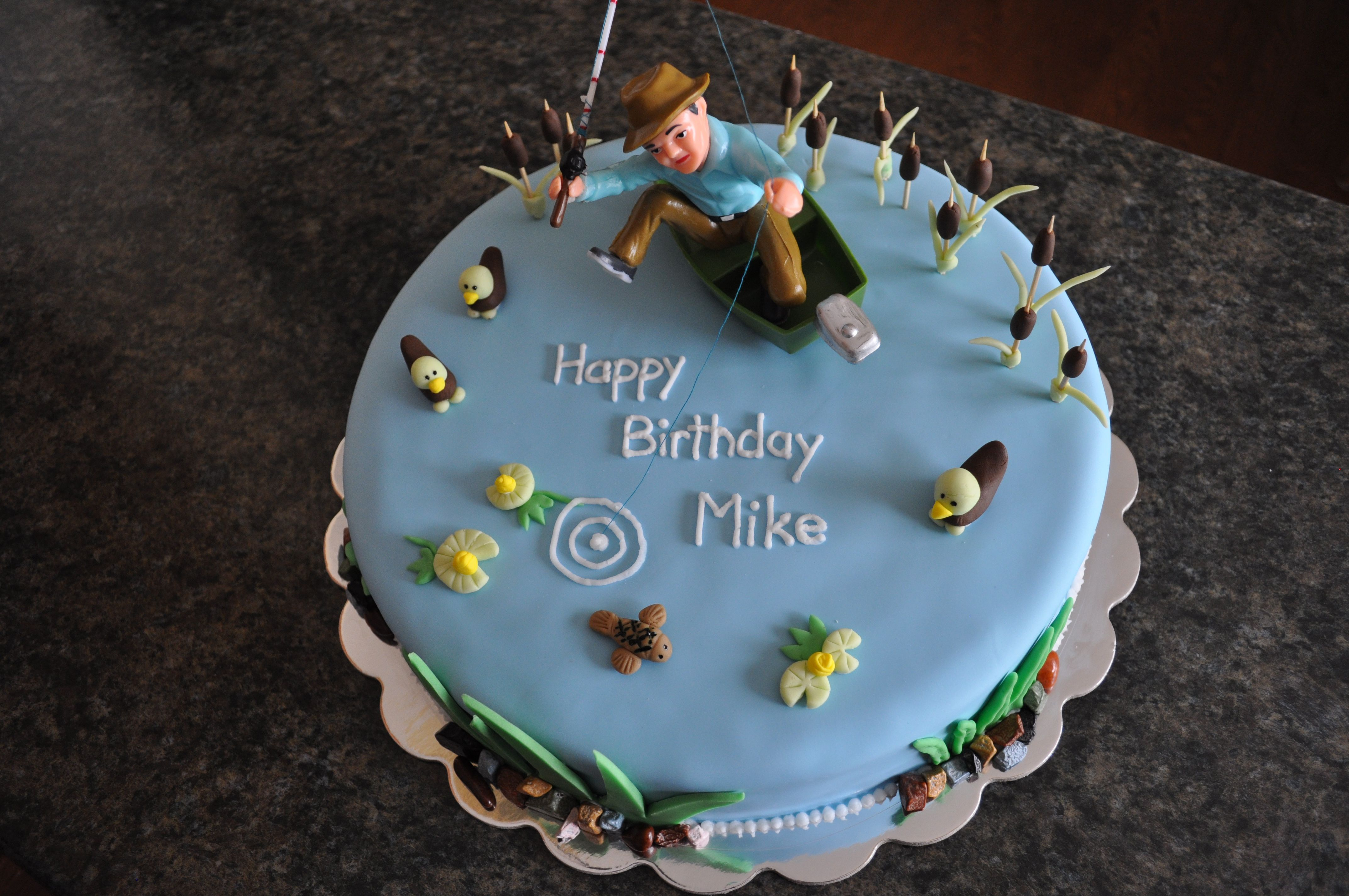 3d Fishing Cake With Fondant Fish Reeds And Cattails And