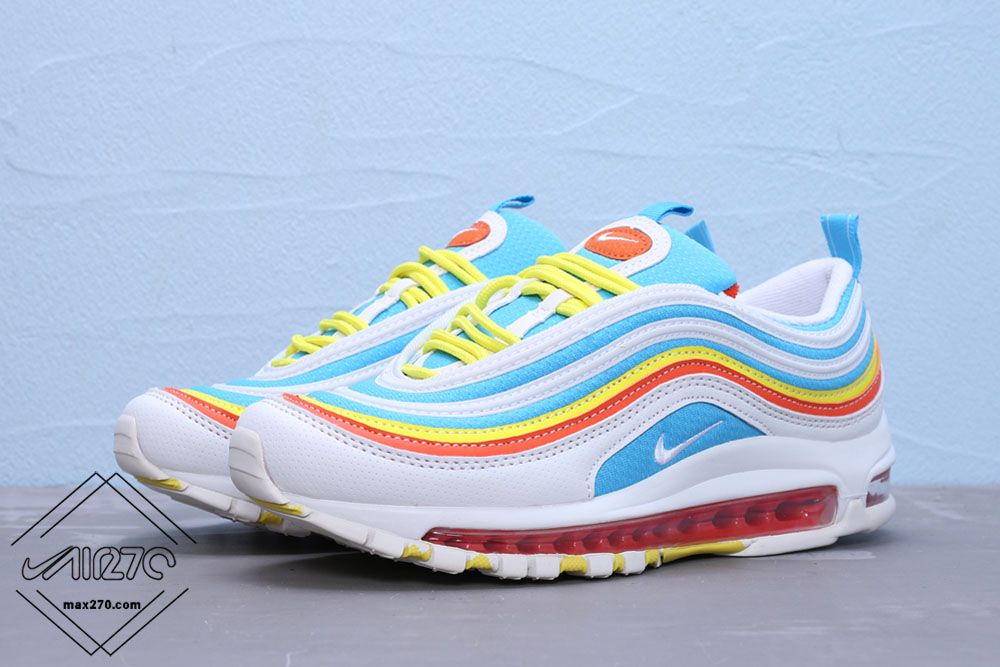 Grade School Air Max 97 White Blueyellow With Images Air Max