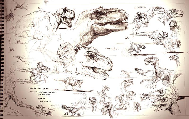 The Lost World Jurassic Park sketchbook: T-rex and Raptor   Pack ...