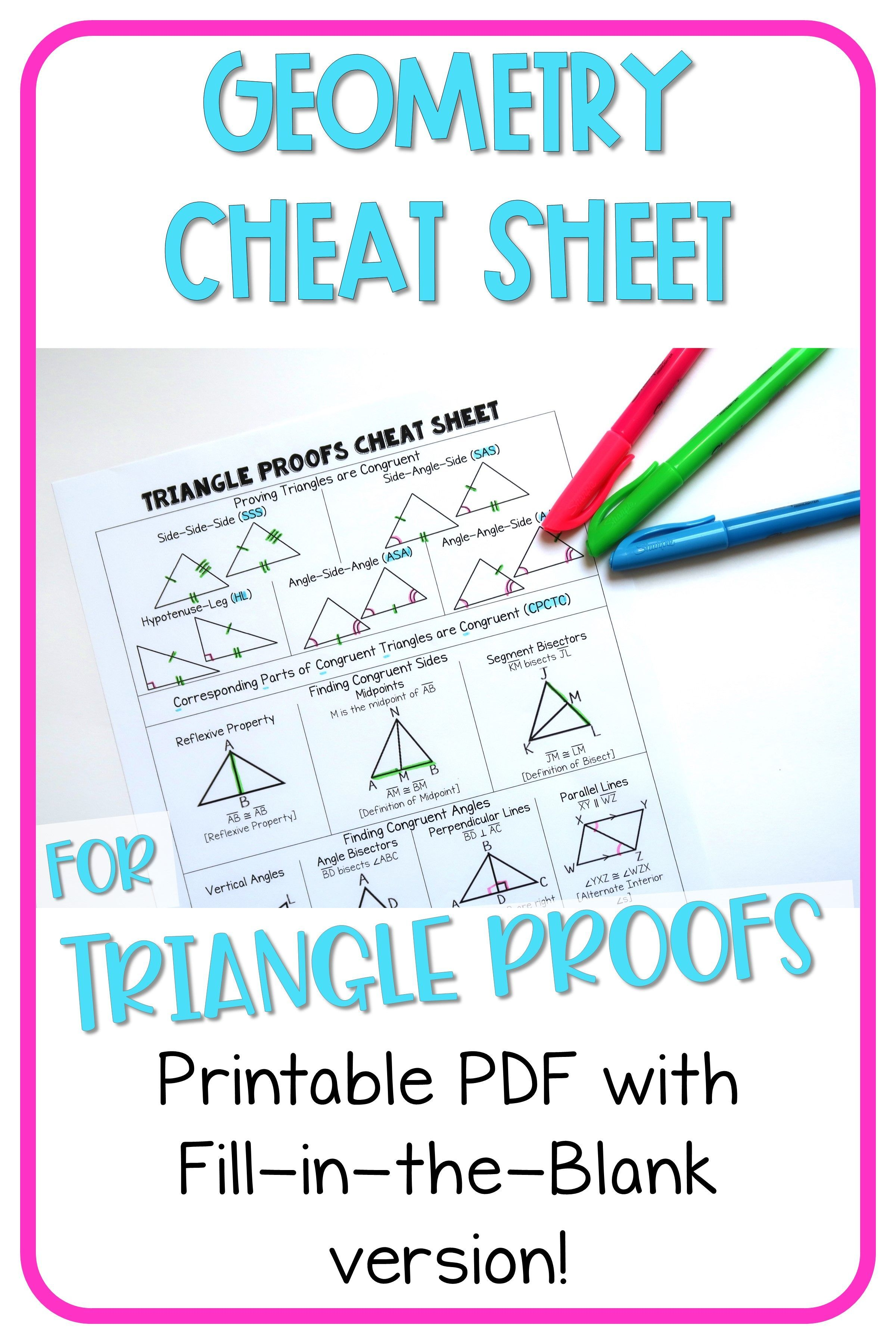 Geometry Cheat Sheet Triangle Proofs