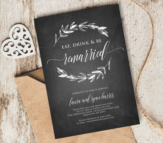 10 Year Wedding Anniversary Invitations: Vow Renewal Invitation Template, Chalkboard Wedding