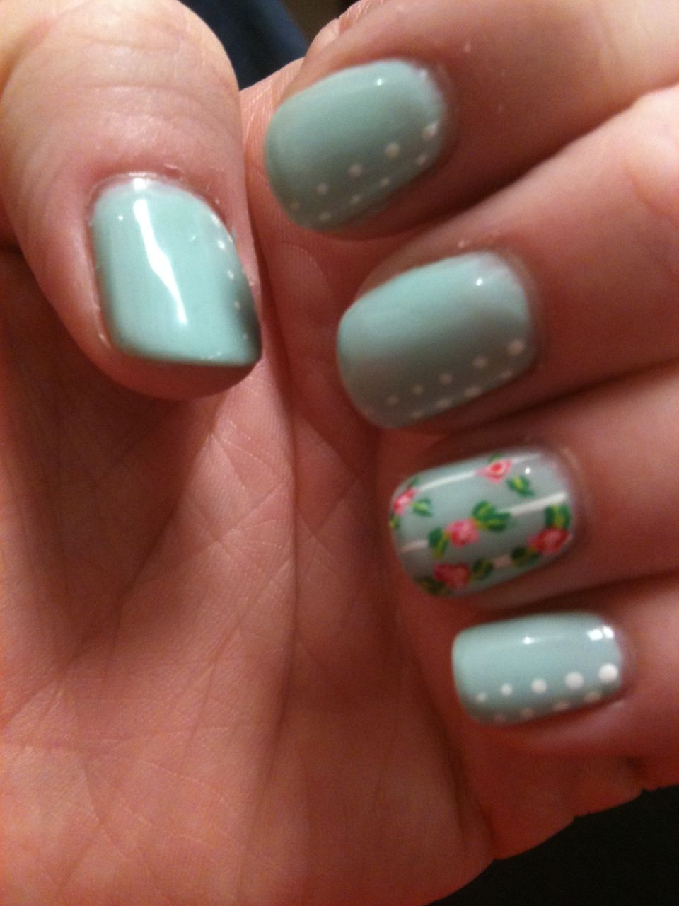 Spring Nail Art Over Gel Polish.