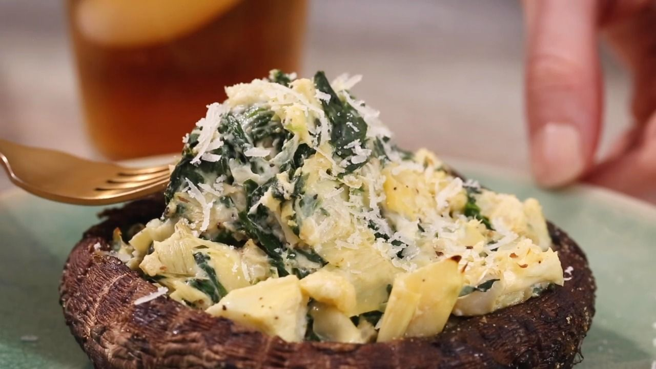 Pin On Healthy Great Eating Artichoke parmesan stuffed mushrooms