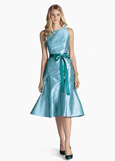 Beautiful short scoop knee-length satin aqua blue bridesmaid dresses BDW0284