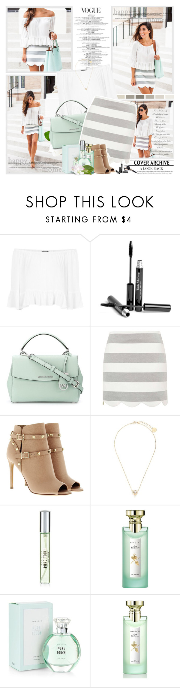 """""""White, Bright Moments."""" by winala ❤ liked on Polyvore featuring Topshop, Trish McEvoy, MICHAEL Michael Kors, Valentino, Anton Heunis, New Look and Bulgari"""