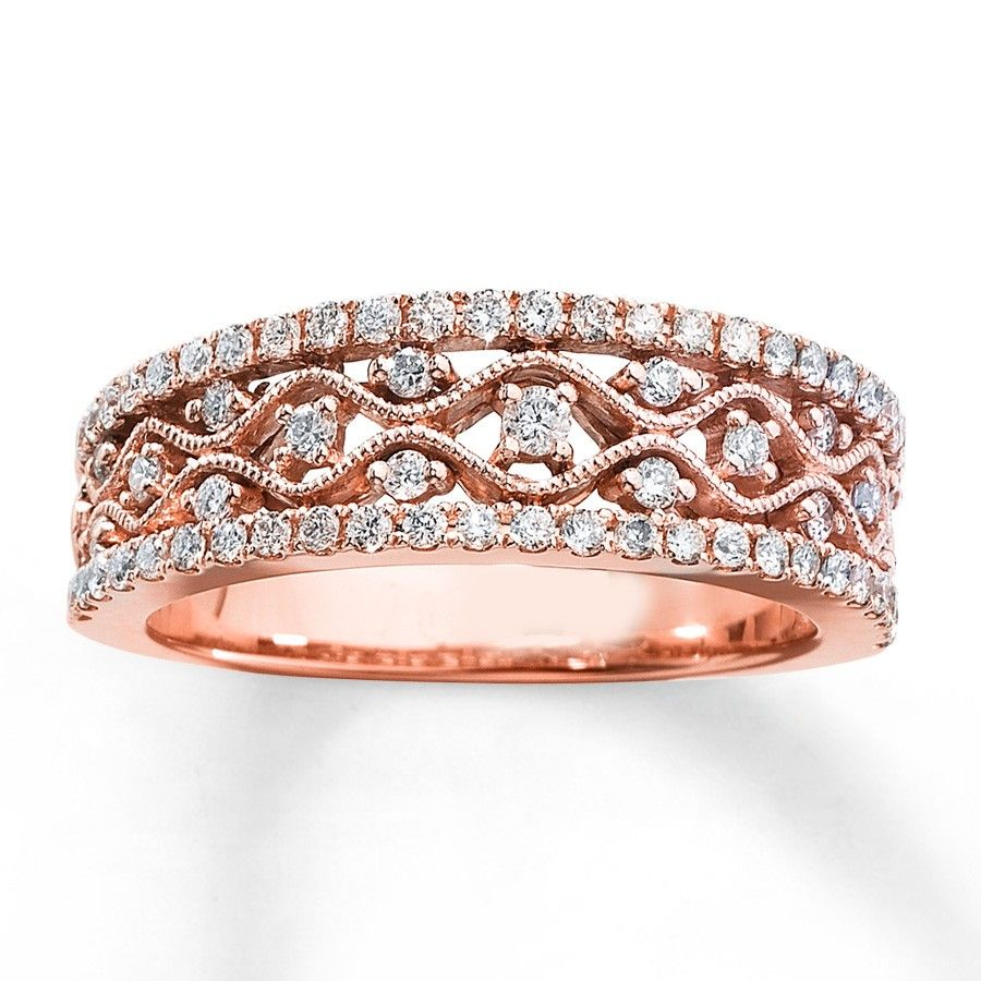 Antique Round Diamond Wedding Ring Band In Rose Gold