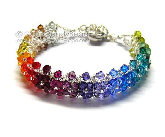 Deep Colorful Swarovski Crystal Bracelet with Flower by candybead, $20.00