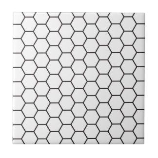 Black And White Hexagon Geometric Pattern Tile