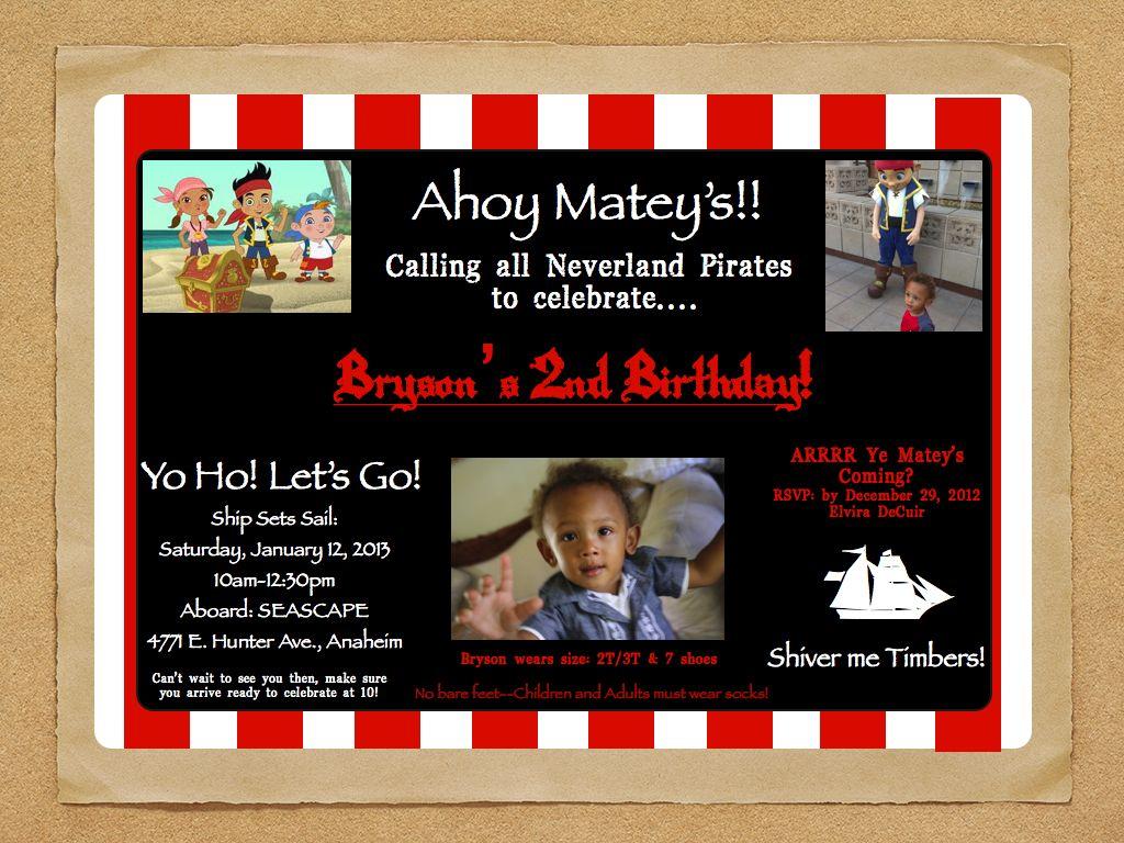 Creative Jake & The Neverland Pirates Birthday Party Invitation by ...
