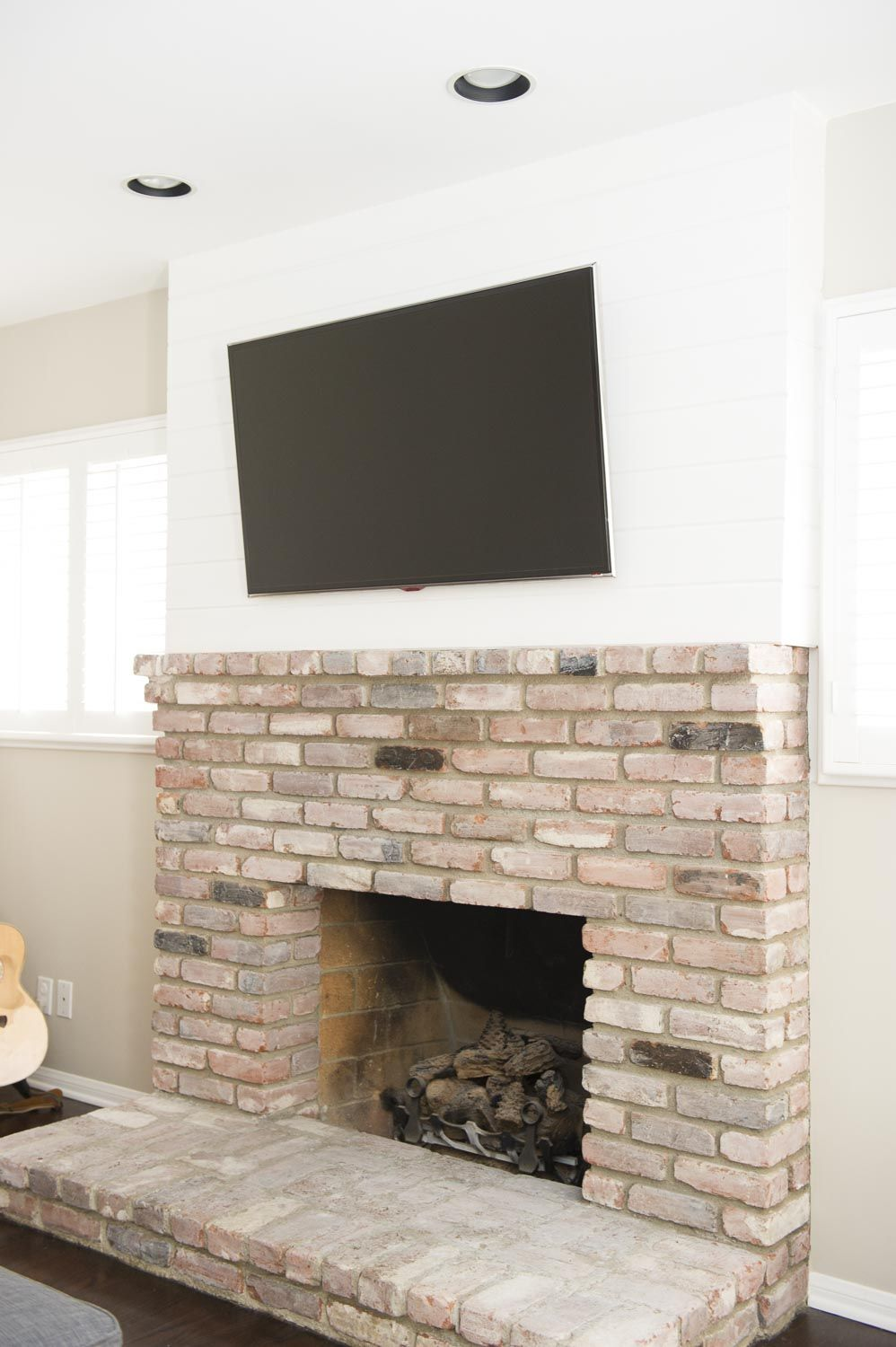 Fireplace Renovation Whitewashed Brick Shiplap Wrap On Upper Section Paint Flat White On Wood And Trim Benj Family Dining Rooms Fireplace Painting Shiplap