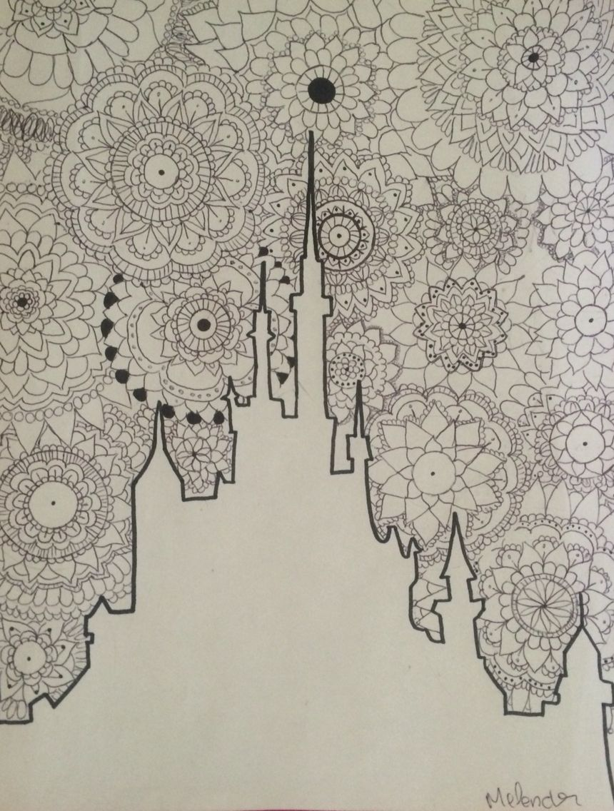 Disney Zentangle Coloring Pages : Zentangle mandala disney castle comment tell me what you