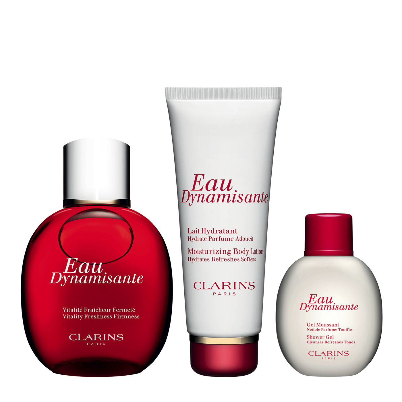 Eau Dynamisante Collection - A great value gift set containing our iconic Eau Dynamisante fragrance and two complimenting fragranced body products.  This gift set contains:   Eau Dynamisante Spray 100ml Eau Dynamisante Moisturizing Body Lotion 100ml (free gift) Eau Dynamisante Shower Gel 50ml (free gift)  This gift set is worth over: £47