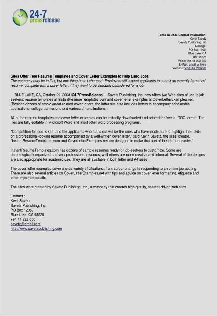 How To Create A Press Release Template In 2020 Cover Letter For