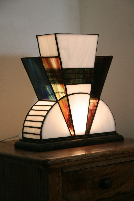 lampe art d co vitrail tiffany mm luminaires par. Black Bedroom Furniture Sets. Home Design Ideas