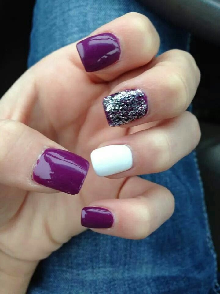 Purple nail - Purple/white/sparkle Nail Art Pinterest Purple Nail
