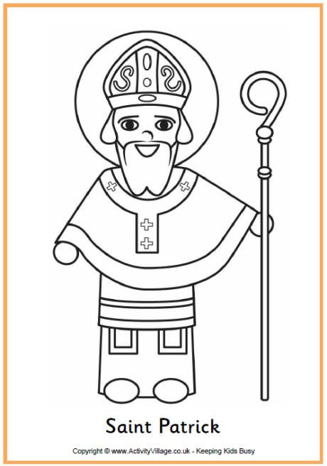 Saint Patrick Colouring Page St Patrick Day Activities St