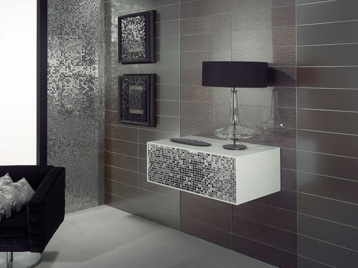 Add A Bit Of Sparkle To Your Bathroom With This Type Of Silver And Inspiration Modern Bathroom Tiles Design Design Ideas