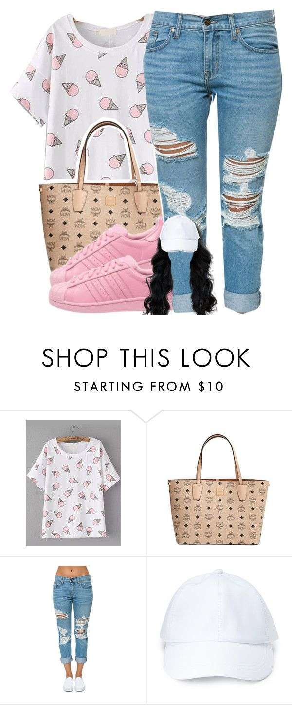 """""""Ice cream cone"""" by not-your-queen ❤ liked on Polyvore featuring MCM, adidas Originals, Pistola and Forever 21"""