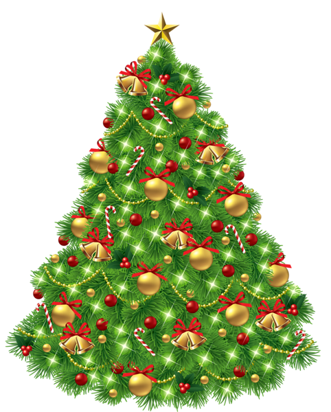 Transparent Christmas Tree With Ornaments And Gold Bells Png Picture Christmas Tree Clipart Christmas Tree Ornaments Christmas Clipart