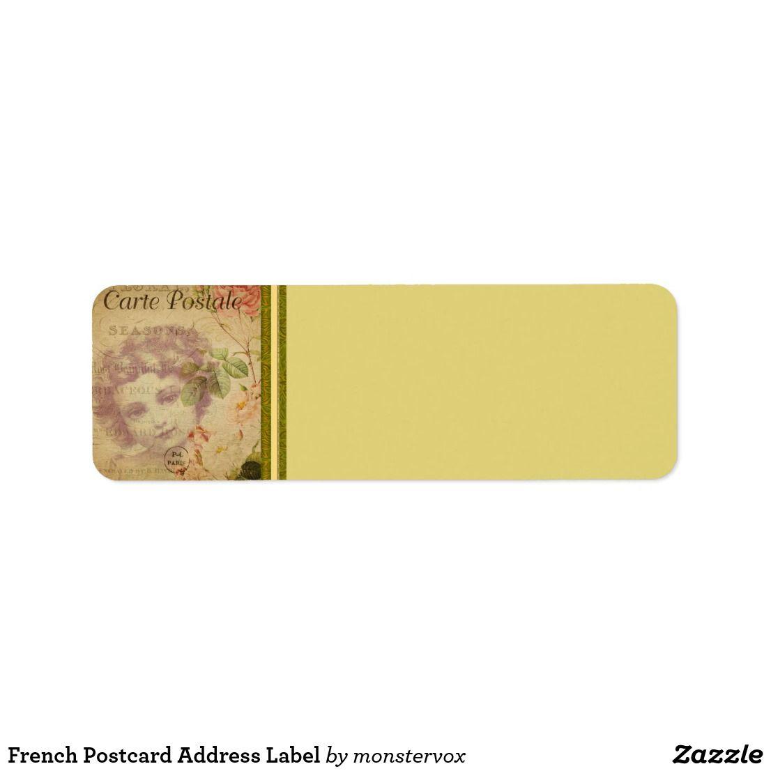 French Postcard Address Label | Zazzle com | My Zazzle Products at