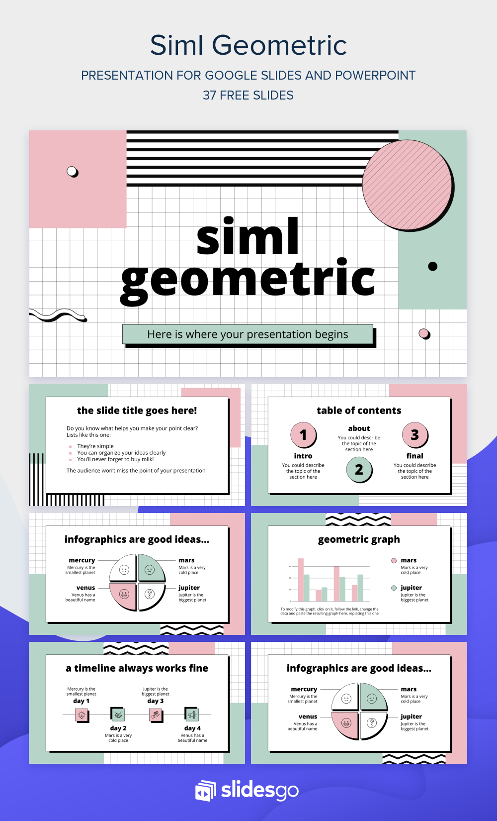 Download And Edit This Cool Geometric Presentation It S Available As Google Slides Theme And Powerpoin Desain Powerpoint Desain Presentasi Templat Power Point
