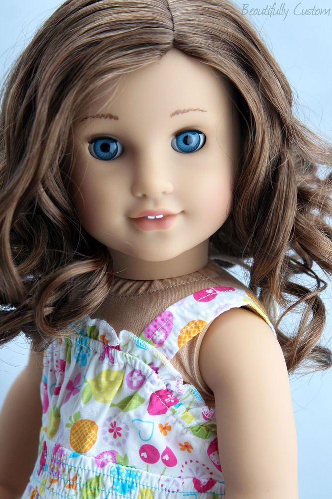 Custom American Girl Doll Rebecca Cute Curly Brown Hair Bright