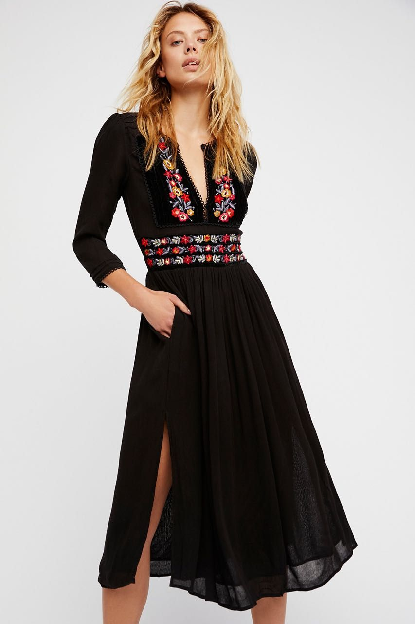 Free People Flora Midi Dress Black Floral Embroidery Canada Us Buy Online Day To Night Dresses Embroidered Midi Dress Dresses