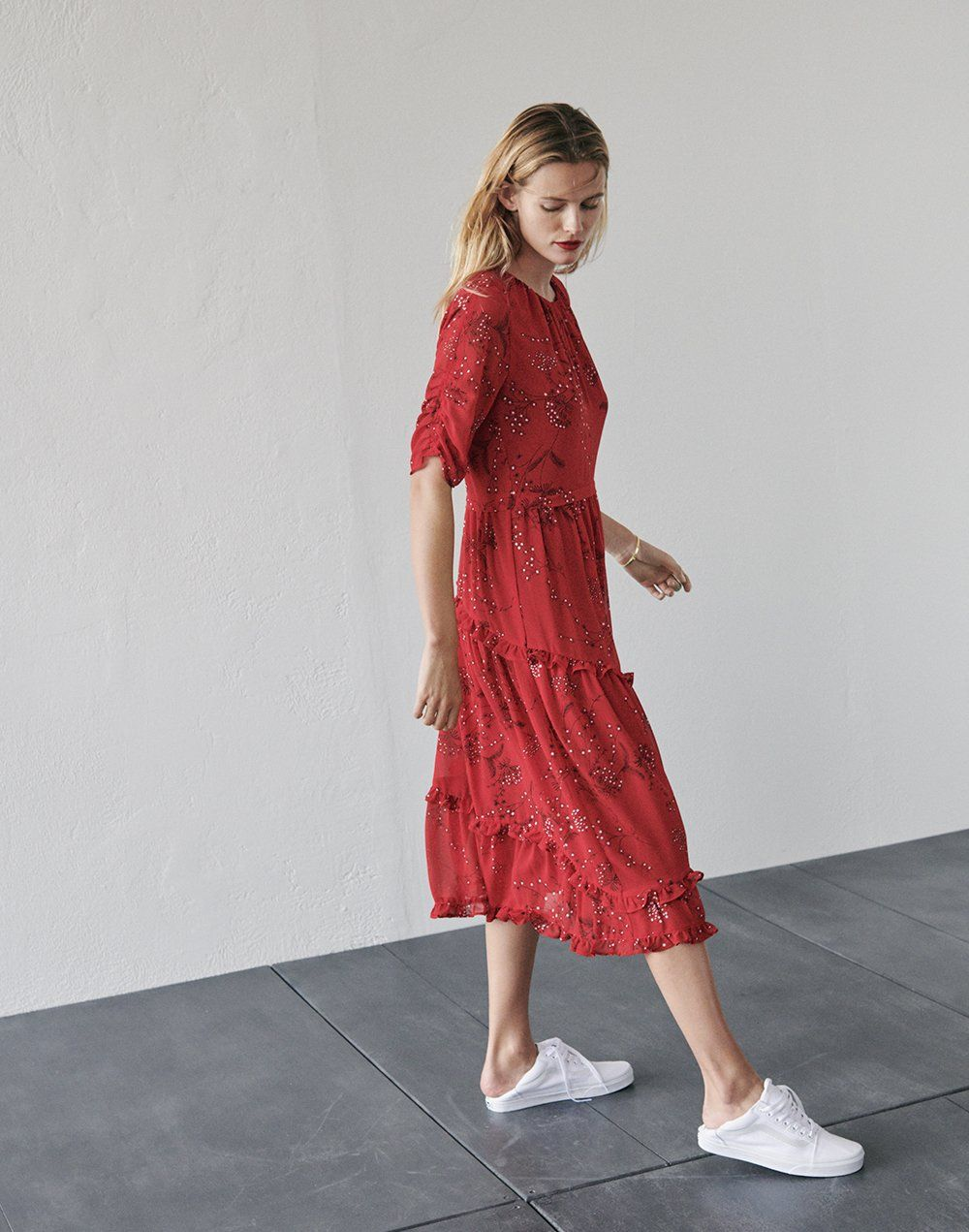 5a05a9859c2 madewell windpoppy ruffle midi dress worn with vans old skool lace-up  sneakers.