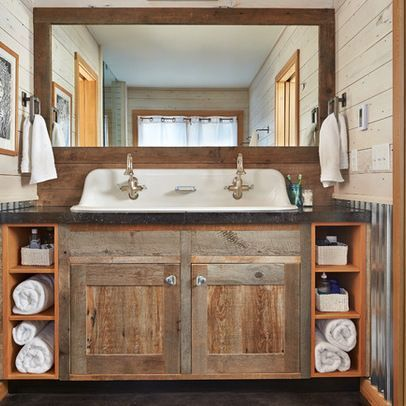 Best 25 farmhouse bathrooms ideas on pinterest for Bathroom cabinet renovation ideas