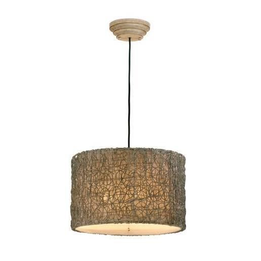 Twisted Woven Rattan Hanging Chandelier Pendant Light Drum Wicker Shade Horchow