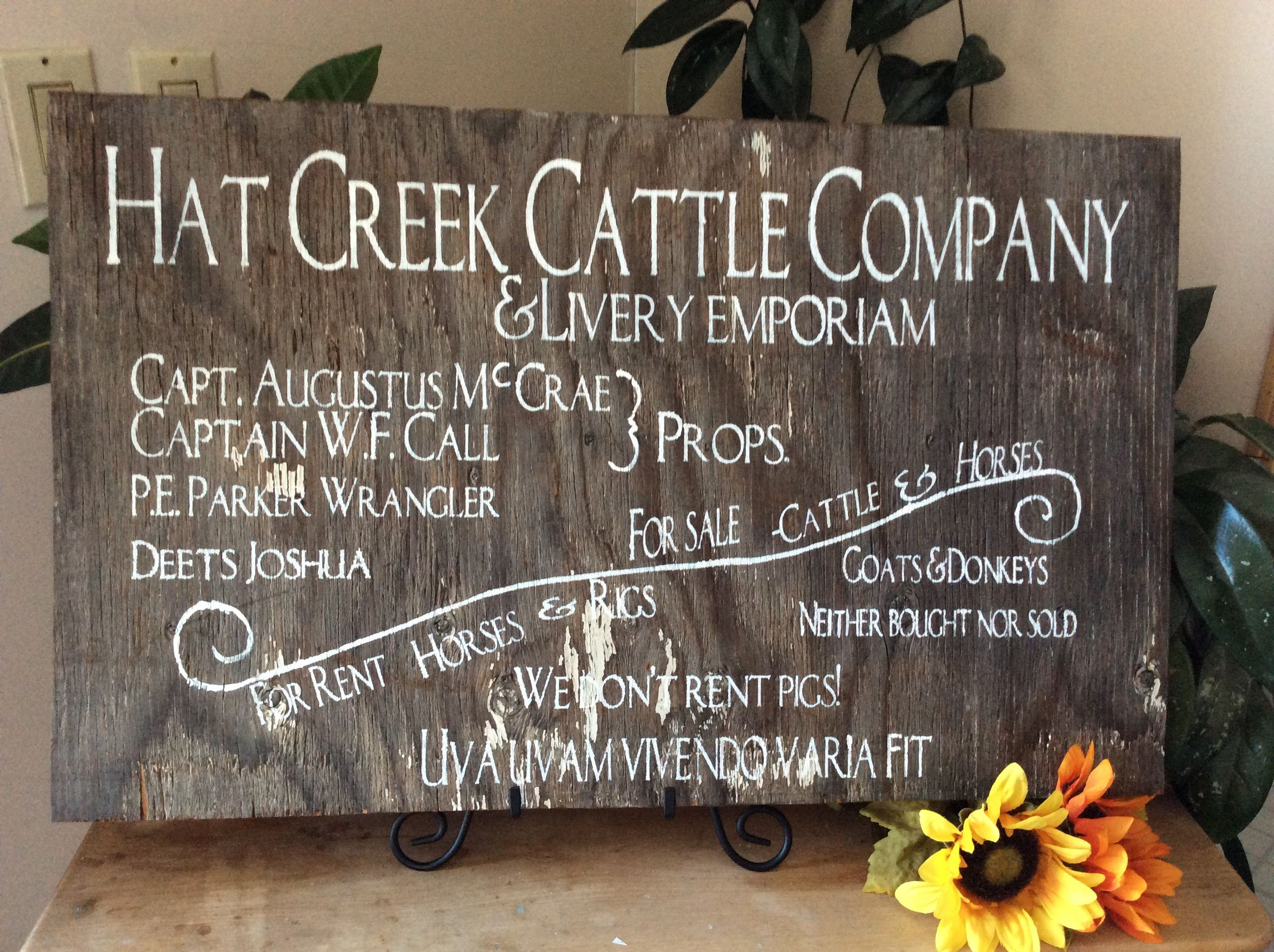 Lonesome Dove Hat Creek Cattle Company Western Sign Western Home Decor Man Cave Rustic Decor Barnwood Sign Barn Wood Signs Ranch Sign Western Home Decor