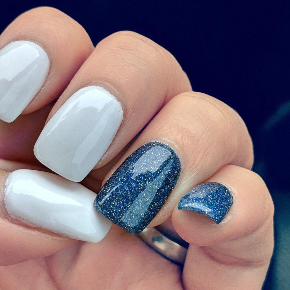 White Nails Blue Glitter Nails Blue Nails White Nails