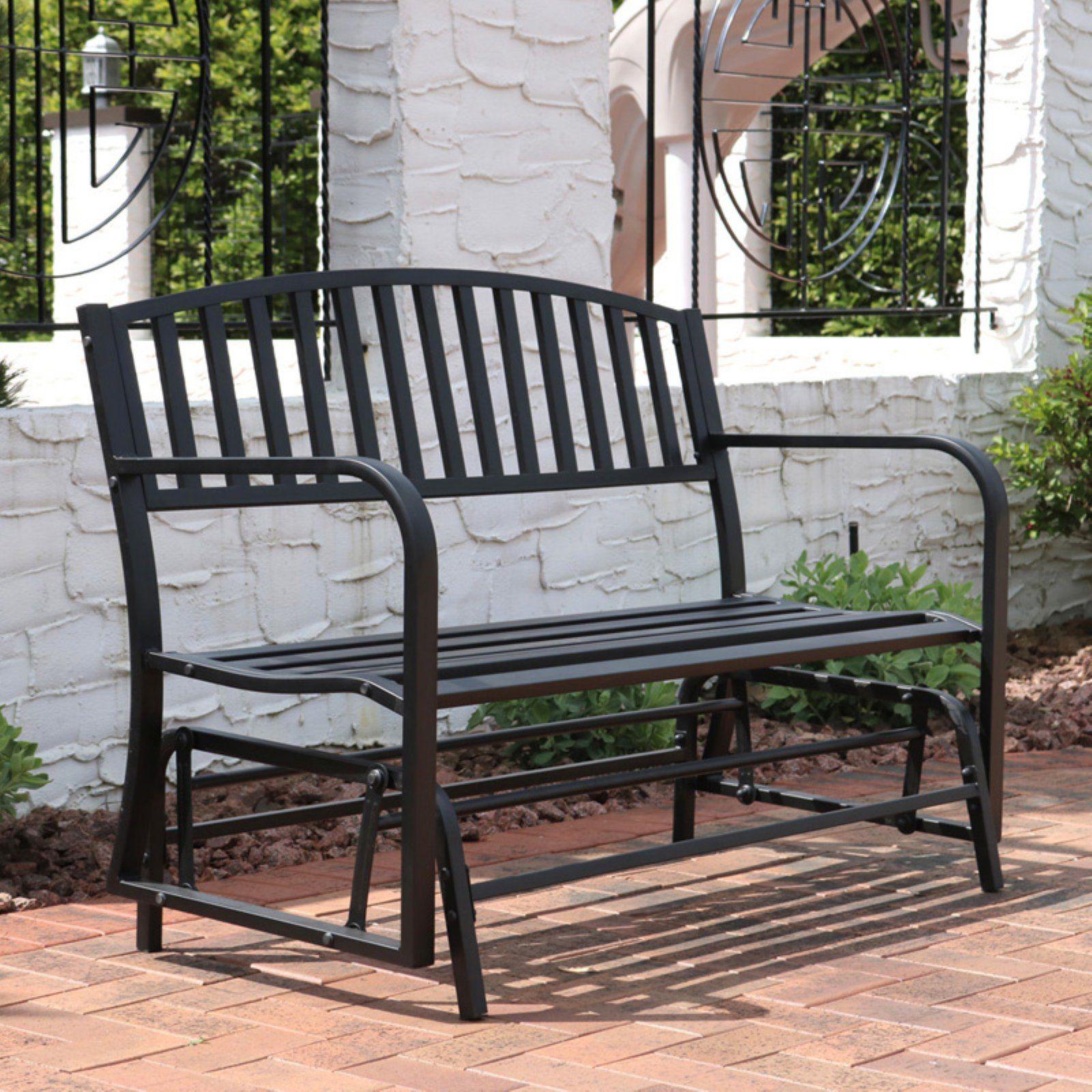Astounding Sunnydaze Decor 4 Ft Steel Outdoor Glider Bench Black Machost Co Dining Chair Design Ideas Machostcouk