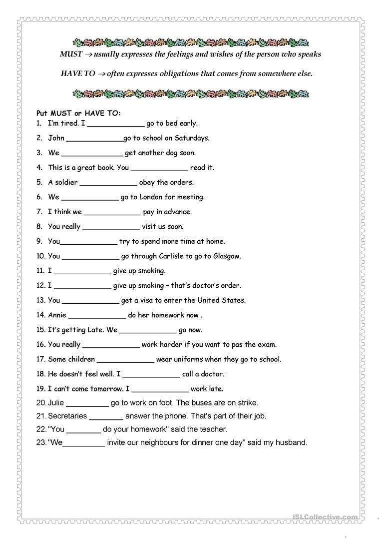 Must Vs Have To Worksheet Free Esl Printable Worksheets Made By Teachers English Grammar English Grammar Worksheets Teaching English Grammar