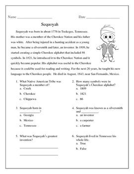 Sequoyah Close Reading Passage and Reading Comprehension Sheet ...