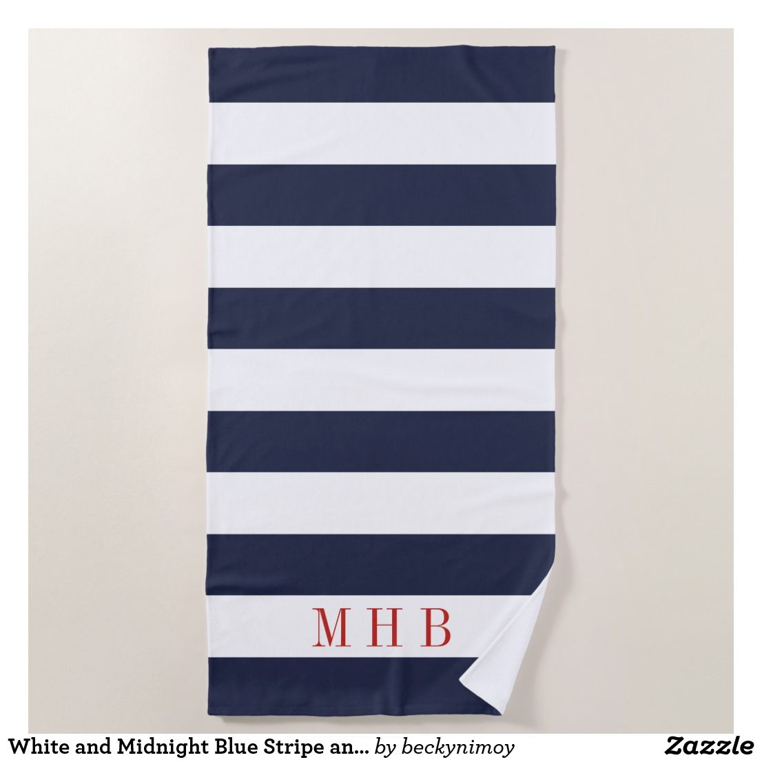 White And Midnight Blue Stripe And Red Monogram Beach Towel
